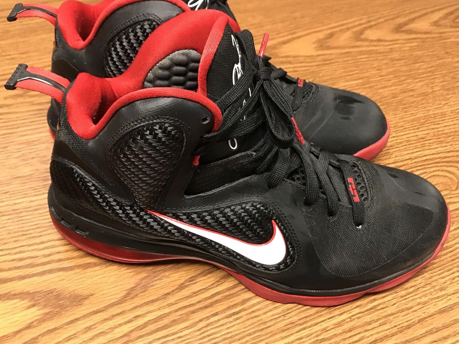 Nike 469764 003 Lebron 9 IX Black White Sport Red Miami Heat Athletic Shoe Sz 11