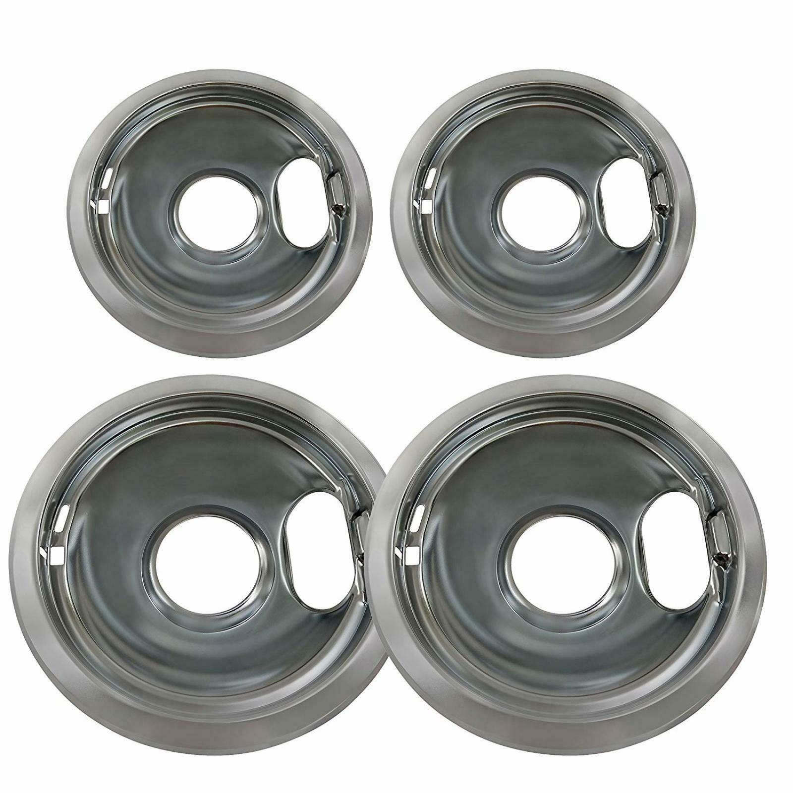 Replacement for Whirlpool W10278125 Electric Range Chrome Reflector Bowls 4 Pack