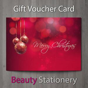 Christmas Gift Voucher Blank Beauty Salon Card Coupon Massage