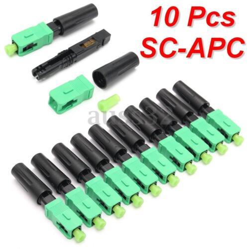 10pcs Ftth Embedded Quick Connector SC//APC Green Plastic Fiber Optic  Hot