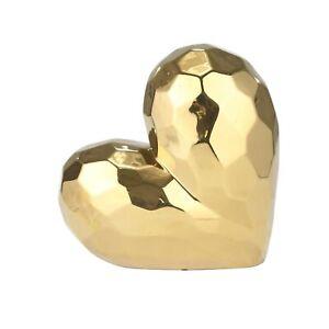"Sagebrook Home GOLD CERAMIC HEART 11.5/"""