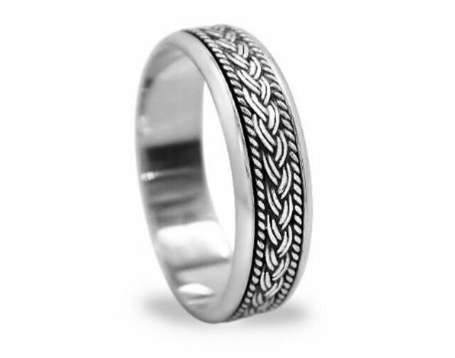 Unisex Braided knot Sterling Silver Spinning Wedding Band Promise Worry Ring 6mm