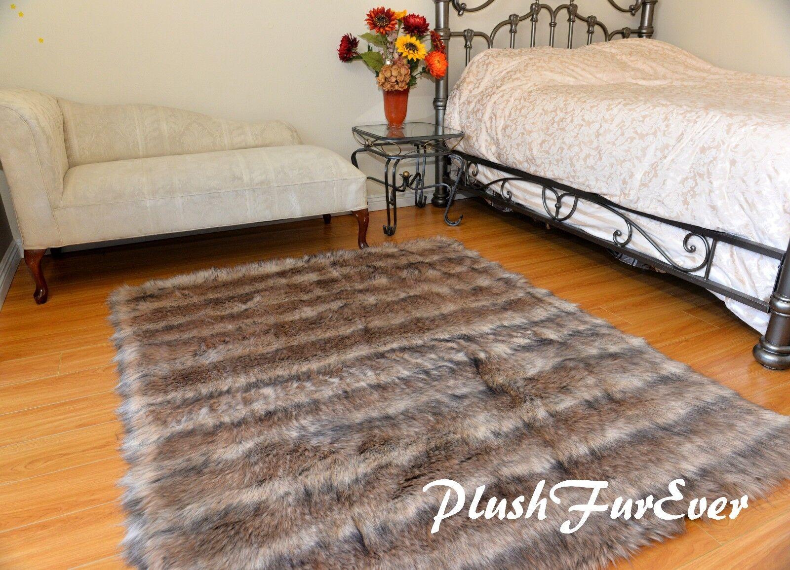 Stripe Coyote Rectangle Plush Area Rug Faux Fur Lodge Cottage Cottage Cottage Rustic Home Decors 4d9189
