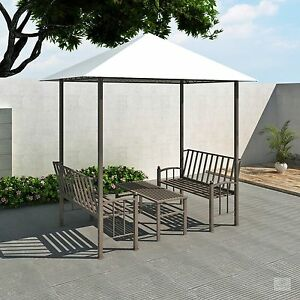 Image Is Loading Garden Gazebo With Bench Metal Coffee Set Outdoor