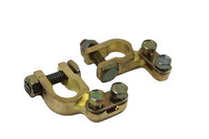 Small-Heavy-Duty-Brass-Car-Battery-Terminals-Clamps-Positive-Negative-NEW