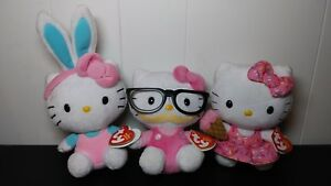 Hello Kitty Ty Beanie Babies lot of 3 plush glasses mustache ice ... b29bc1affa5f