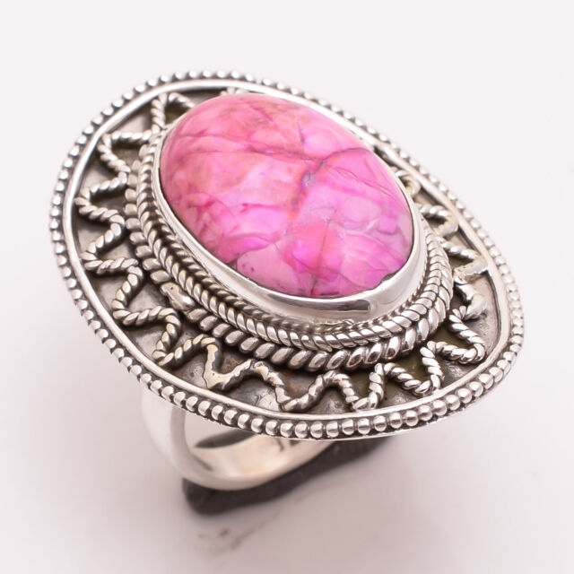 925 Sterling Silver Ring Size US 5.5, Pink Sugilite Gemstone Jewelry CR2538
