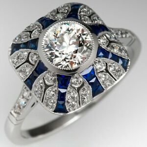 Estate-1930-039-S-Art-Deco-1-0-CT-Diamond-amp-Blue-Sapphire-Ring-14K-White-Gold-Over