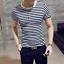 thumbnail 5 - Men-Stylish-Tee-Slim-Fit-Casual-T-shirts-Striped-Shirt-Fashion-Short-Sleeve-Tops