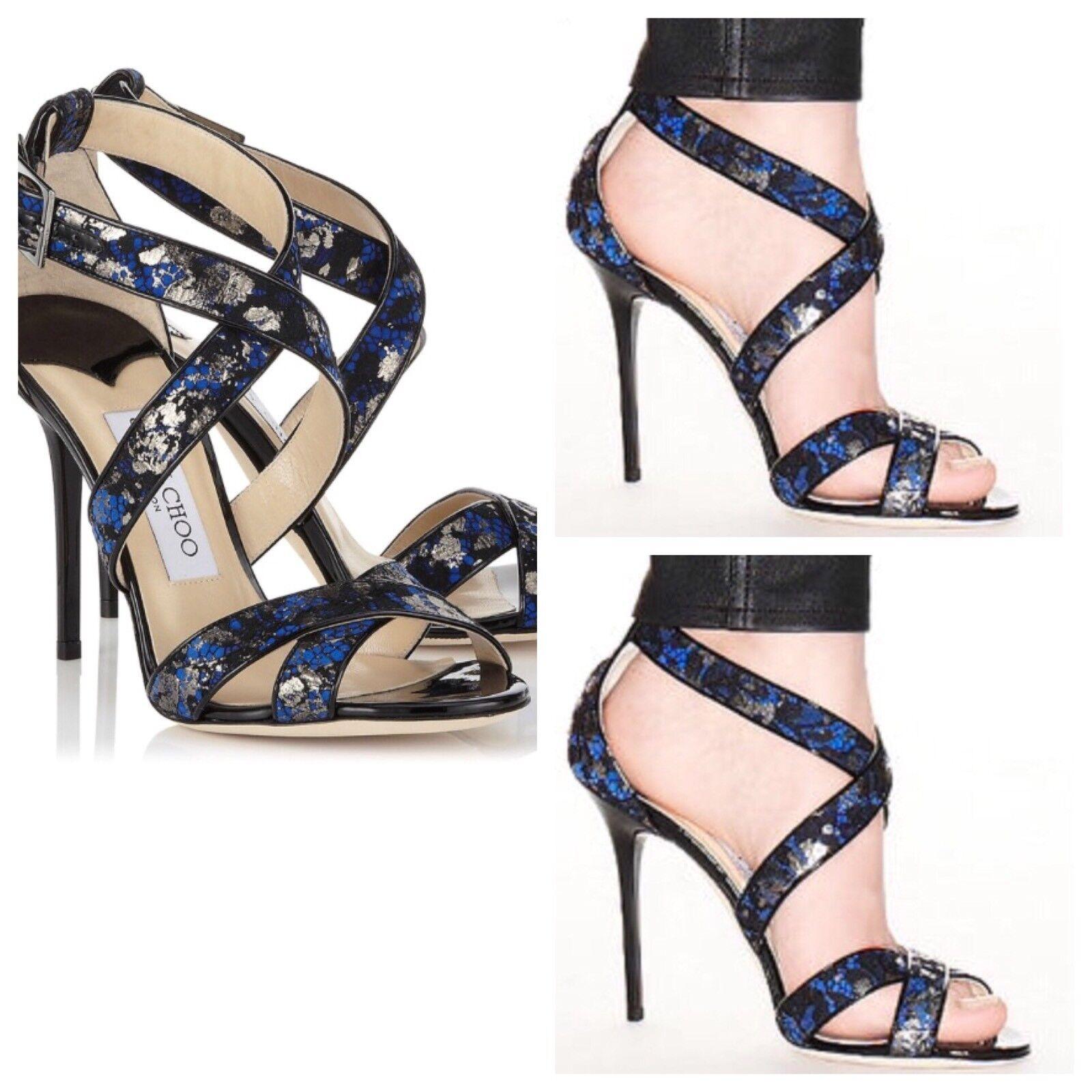 online economico Jimmy Choo Lottie Aegean Metallic Metallic Metallic Lace Sandals Dimensione 6.5US MSRP  850  l'ultimo