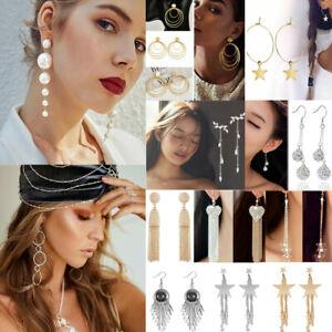 925-Silver-Wedding-Bridal-Crystal-Rhinestone-Drop-Dangle-Long-Earrings-Jewelry