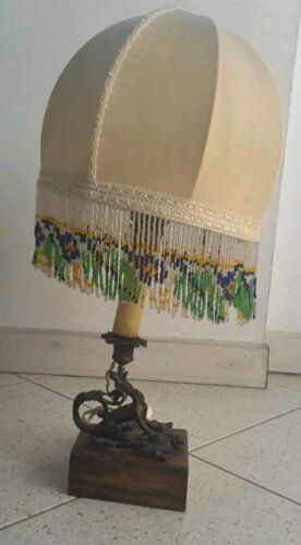 abatjour, lampada, antica in legno e metallo