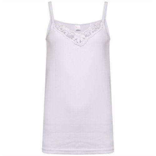 Ladies Plain Stretch Cotton Vest Top Lace Trim Cami Tank Strappy Camisole Lot