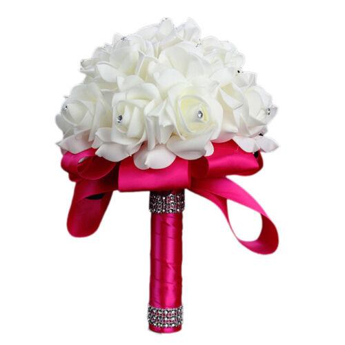 Handmade white Crystal Bridal Wedding Bouquet Silk Flower Bridesmaid Foam Brooch