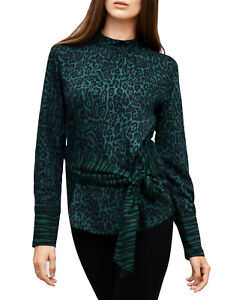 Warehouse-Neuf-Noir-amp-Vert-Tie-Front-Animal-Haut-a-manches-longues-chemisier-taille-6-To-18