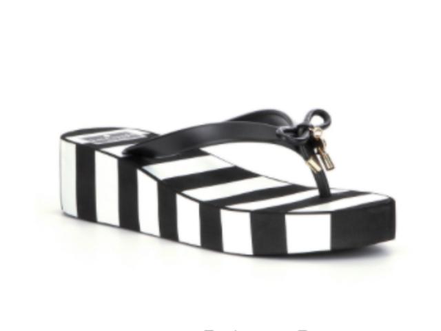 02bc460d8fb3 KATE SPADE Women s Rhett Wedges Flip Flops Sandals Black White Stripe Size 8