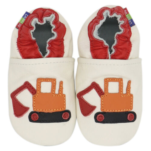 carozoo excavator cream 4-5y soft sole leather kids shoes