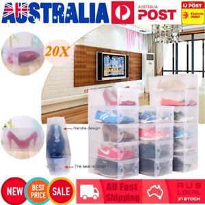 20X-Transparent-Clear-Plastic-Shoe-Storage-Box-Foldable-Stackable-Boxes-Lot-Bulk
