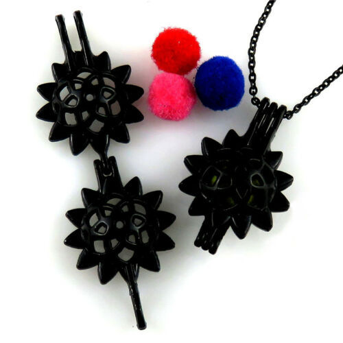 """H430  Black Plated 30mm Sunny Sunflower Pearl Cage Steel Necklace 18/"""""""