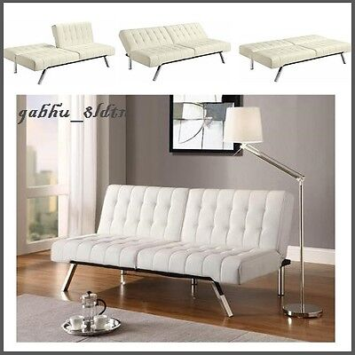 Fine Vanilla Faux Leather Futon Sofa Couch Bed Sleeper Chaise Lounger Tufted Chic 700535371834 Ebay Gmtry Best Dining Table And Chair Ideas Images Gmtryco