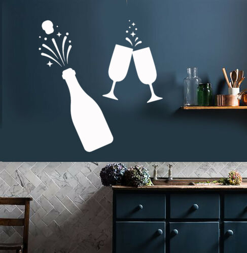 Vinyl Wall Decal Champagne Alcohol Fireworks Party Celebration Stickers 2844ig