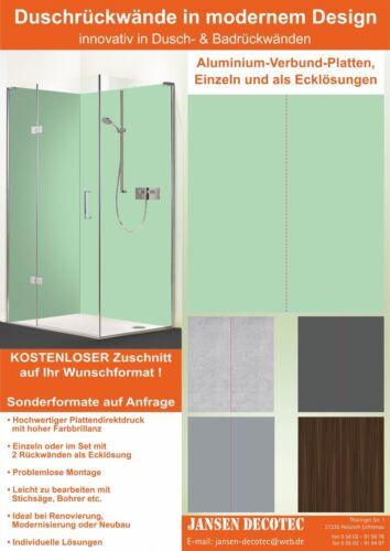 Eck Duschrückwand HOCHGLANZ Dusche Wandverkleidung Badrückwand Mintgrün Farbe