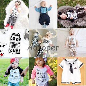 2PCS Newborn Toddler Kids Baby Boys Girls Outfits Clothes T-shirt Tops+Pants Set