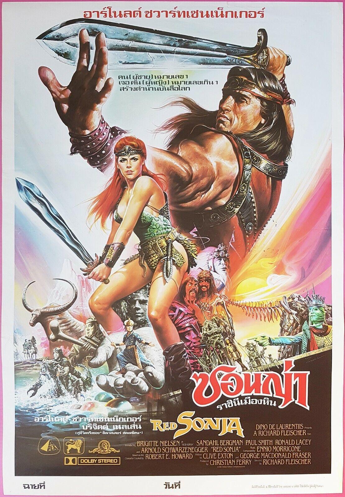 Red Sonja 1985 Thai Movie Poster Original Arnold Schwarzenegger Ebay