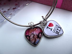 LITTLE MIX SINGERS  SILVER  BANGLE 2 HEART CHARM DANCE MUSIC GIFT BOXED PARTY