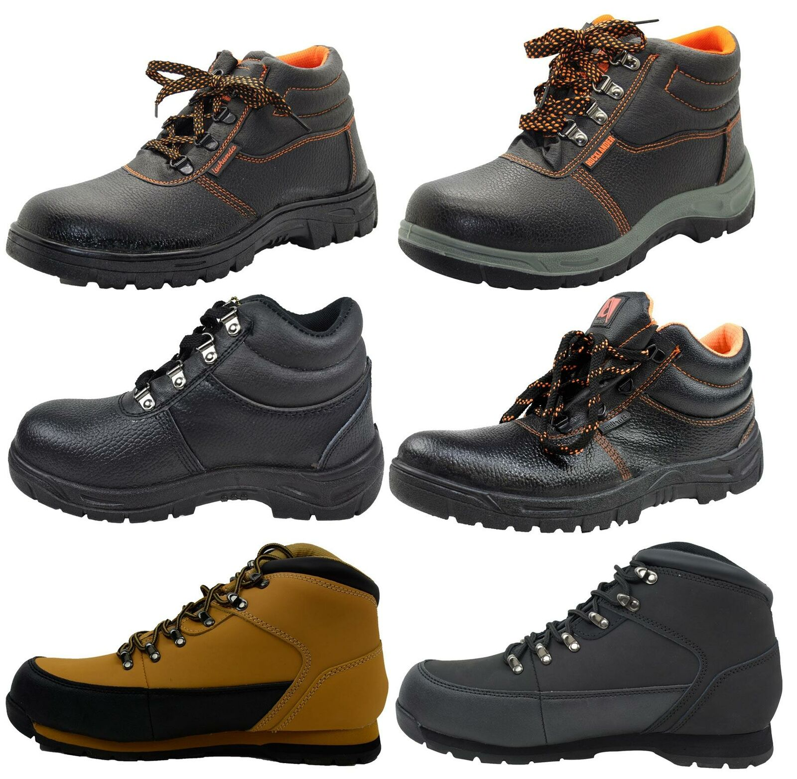 New Mens Safety High Top Work Steel Toe Cap Leather Oil Resistant Boots Shoes