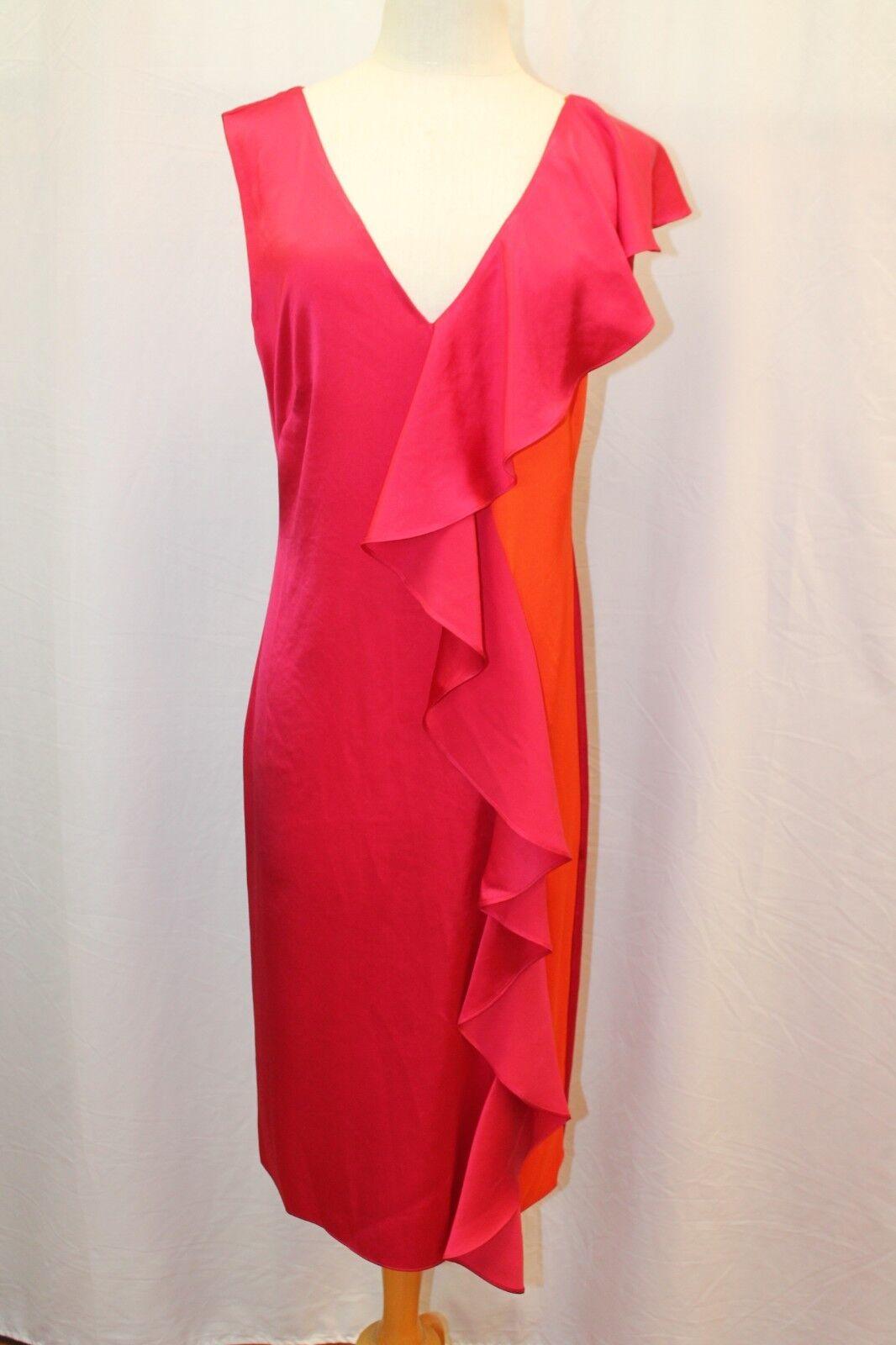 Diane von Furstenberg DVF Red Silk Ruffle Dress 8 M