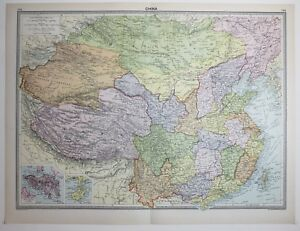 1920 large map china mongolia tibet hong kong hainan szechwan image is loading 1920 large map china mongolia tibet hong kong gumiabroncs Images