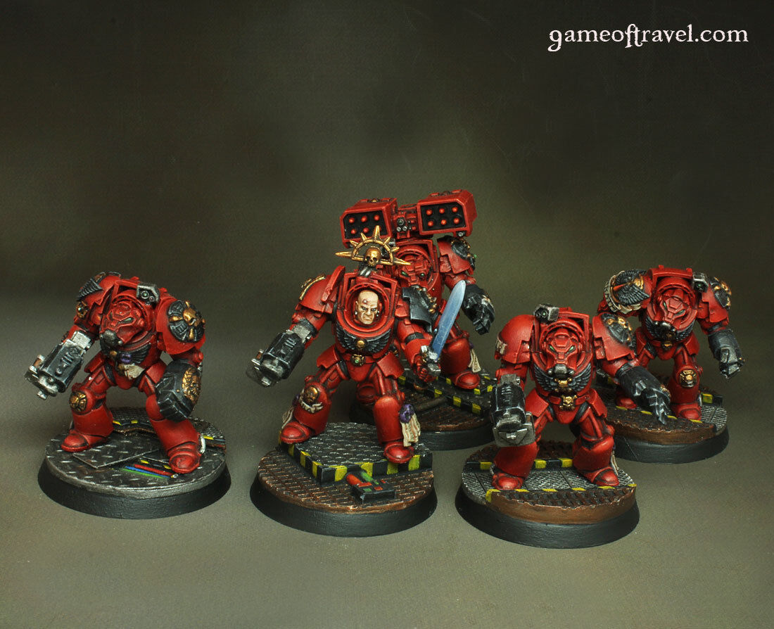 Space Marines Blood Angels Terminator Squad Warhammer 40000 Painted Magntetised
