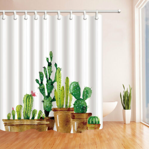 Potted Cactus Flower Shower Curtain Set Waterproof Polyester Fabric /& 12 Hooks