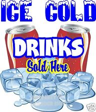 Ice Cold Drinks Sold Here Decal 14 Concession Cart Food Truck Can Soda Pop