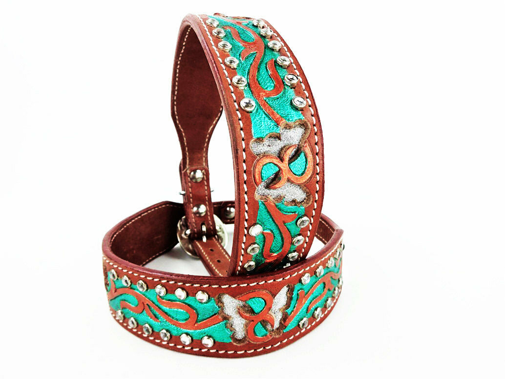 24  METALLIC BUTTERFLY BLING WESTERN STYLE LEATHER CANINE DOG COLLAR XL LARGE