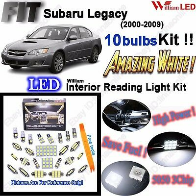 10Bulbs LED Interior Light Kit Xenon White Room Lamp For Subaru Legacy 2000-2009