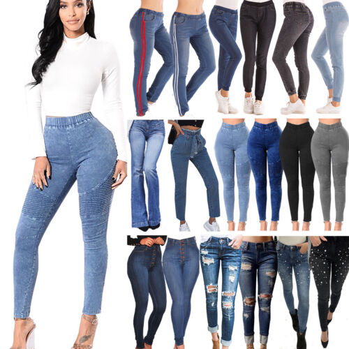 Damen Skinny High Waist Denim-Hosen Boyfriend Stretch Jeans Hose Röhrenjeans