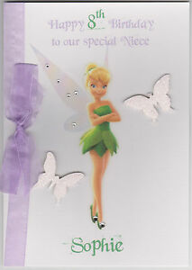Image Is Loading Personalised Handmade Disney Tinkerbell Birthday Card Daughter Sister