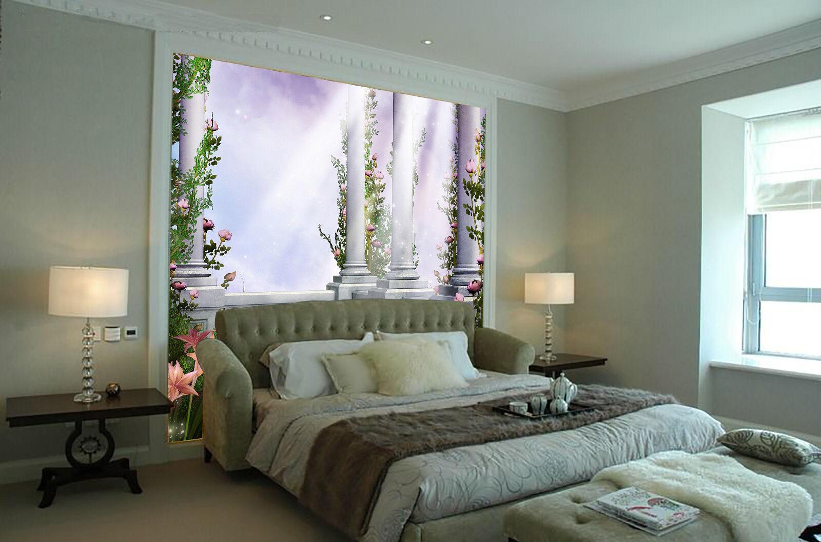 3D Piliers Fleur 32 Photo Papier Peint en Autocollant Murale Plafond Chambre Art