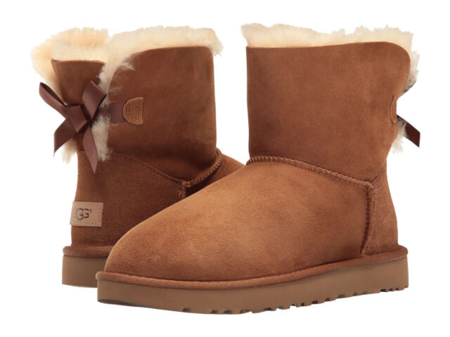 Women UGG Mini Bailey Bow II Boot 1016501 Chestnut Twinface 100% Authentic New