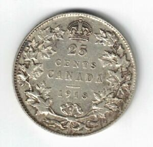 CANADA-1918-TWENTY-FIVE-CENTS-QUARTER-KING-GEORGE-V-STERLING-SILVER-COIN
