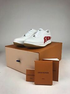 Authentic Louis Vuitton X Supreme Sport Sneakers Shoe White Red Lv
