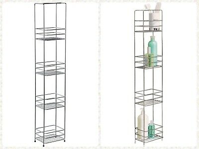 4 Tier Shower Organiser Caddy Bath Accessory Storage Unit Bathroom Shelf Chrome