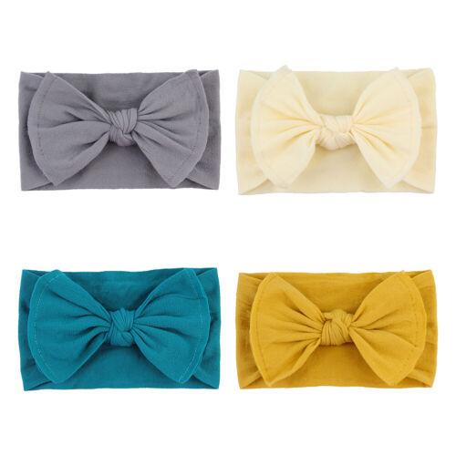 4 Pcs Baby Girls Elastic Headbands Newborn Infant Hairband Bows Hair Accessories
