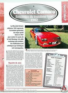 Chevrolet-Camaro-General-Motors-V8-1982-USA-Car-Auto-Voiture-FICHE-FRANCE