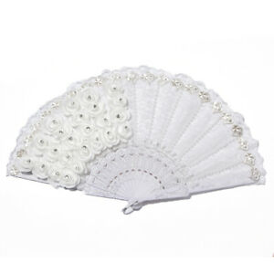 2X-Rose-Feather-Pattern-Folding-Dance-Wedding-Party-Lace-Silk-Folding-Hand-2Q7