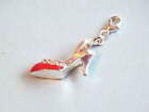 Rojo y transparente de diamantes de imitación de tacón alto Zapatos De Clip encanto-Para Pulseras-S/p 925