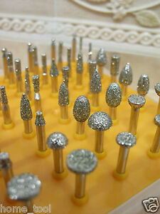 50-x-Diamond-coated-SMALL-rotary-jewellery-grinding-burrs-mounted-point-GRIT-40
