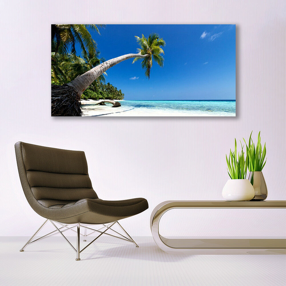 Print on Glass Wall Wall Wall art 140x70 Picture Image Beach Palm Tree Sea Landscape 213b3d